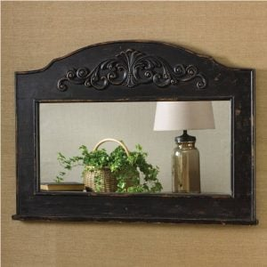 Beautiful Aged Black Mantle Top Mirror