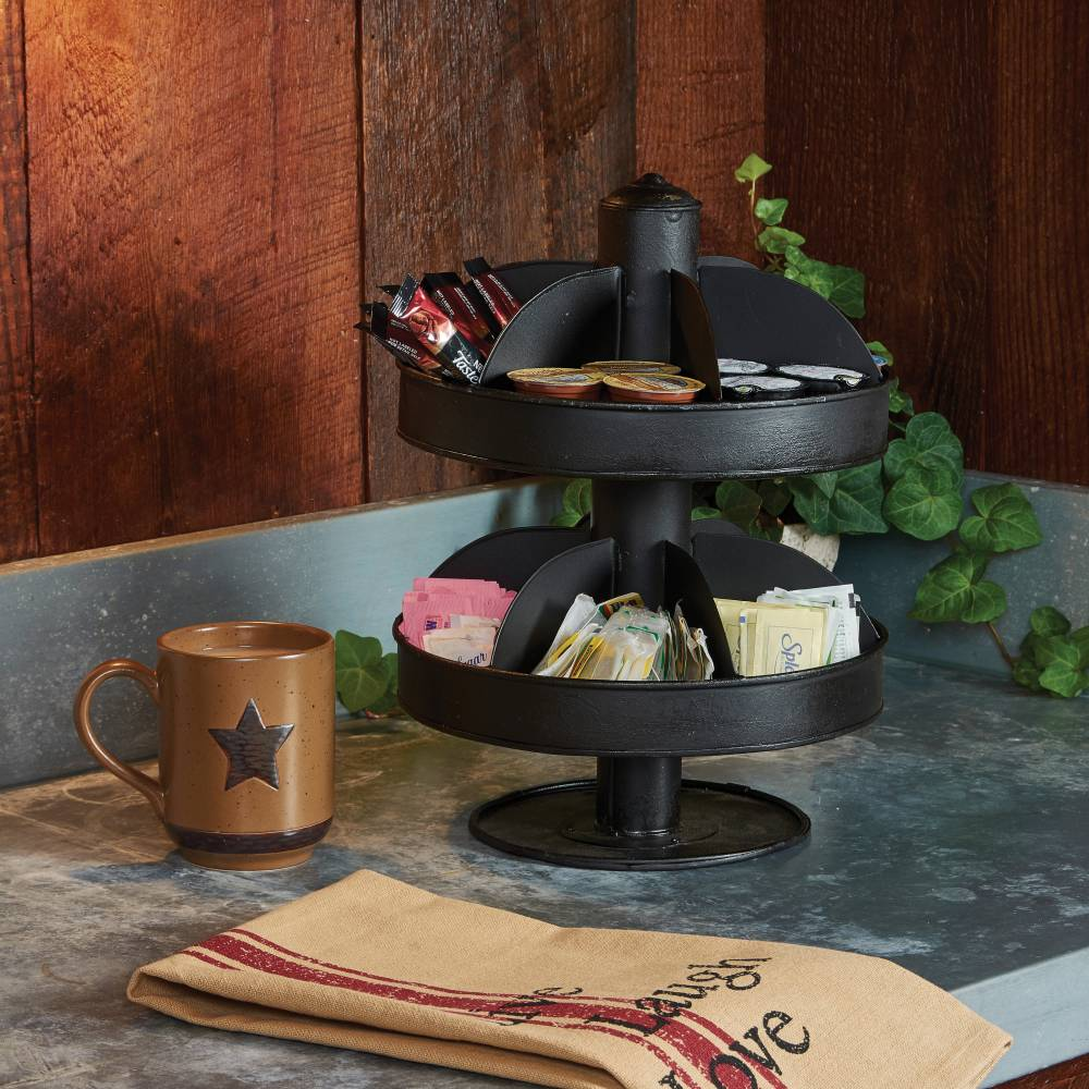 Primitive Home Decor Part - 28: 2 Tier Lazy Susan Organizer U2013 Small, Black