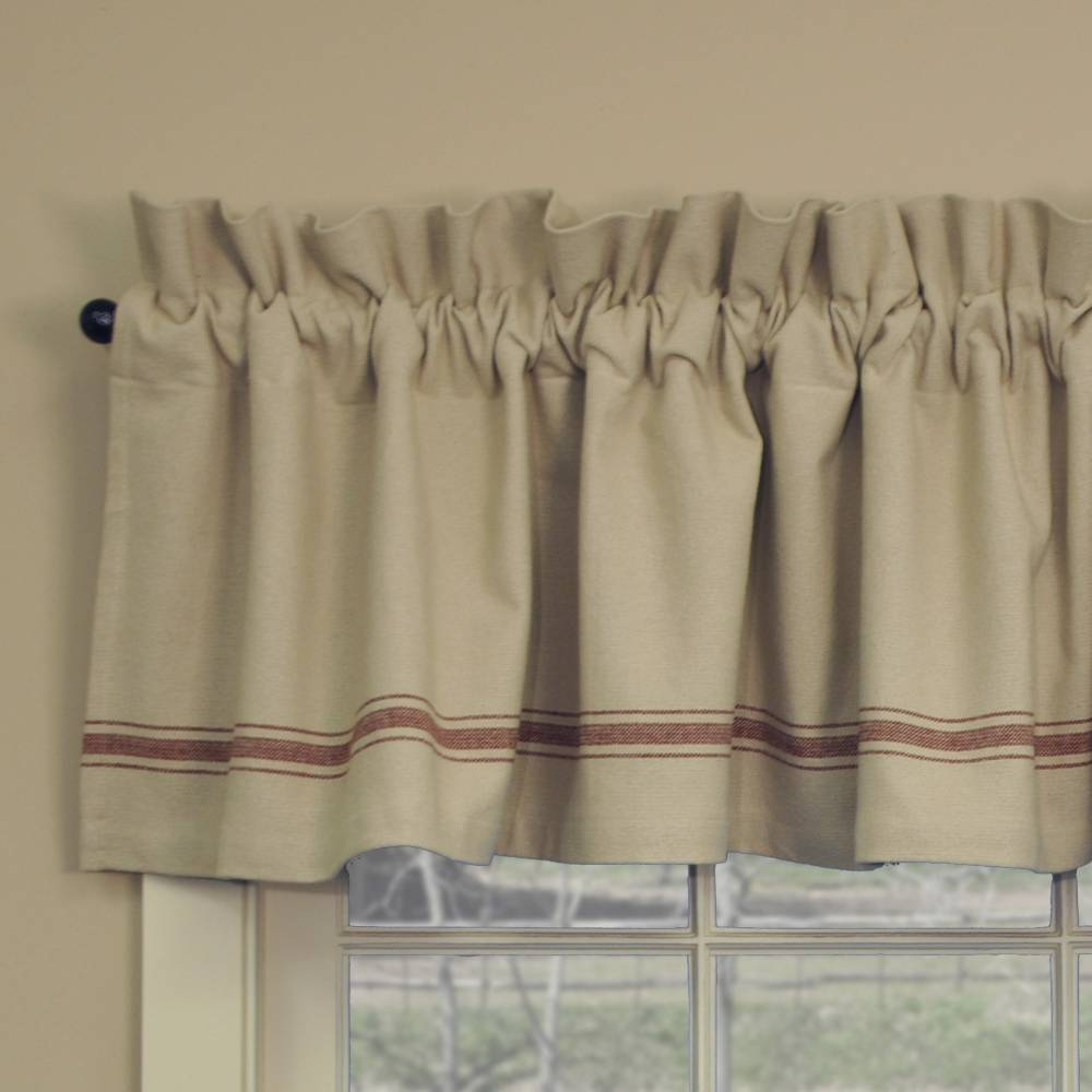Grain Sack Red Stripe Valance Piper Classics