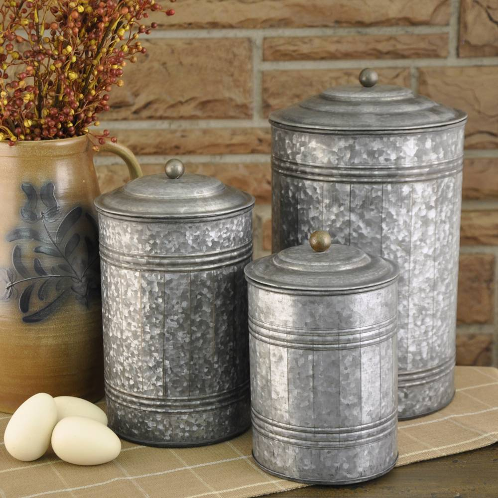 Galvanized Canisters Set 3 Piper Classics
