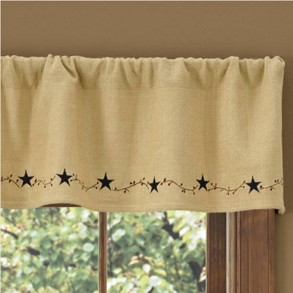 Country Straight Valance Curtains Burlap Star Lined