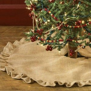 burlap ruffled tree skirt 24 - Burlap Christmas Decorations For Sale