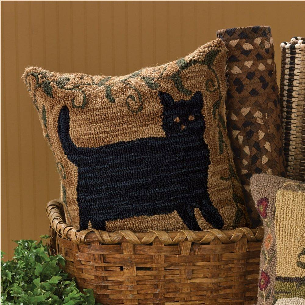 """Primitive Cat Hooked 18"""" Pillow Cover - Piper Classics"""