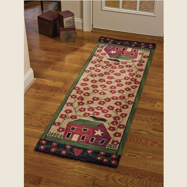 Country Home Decor Red House Hooked Rug Runner