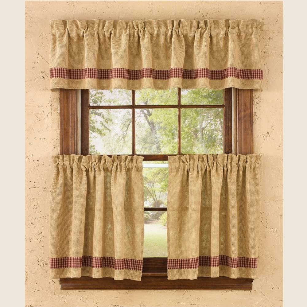 Country Tier Curtains Burlap Amp Check Red 72 Quot X 24 Quot