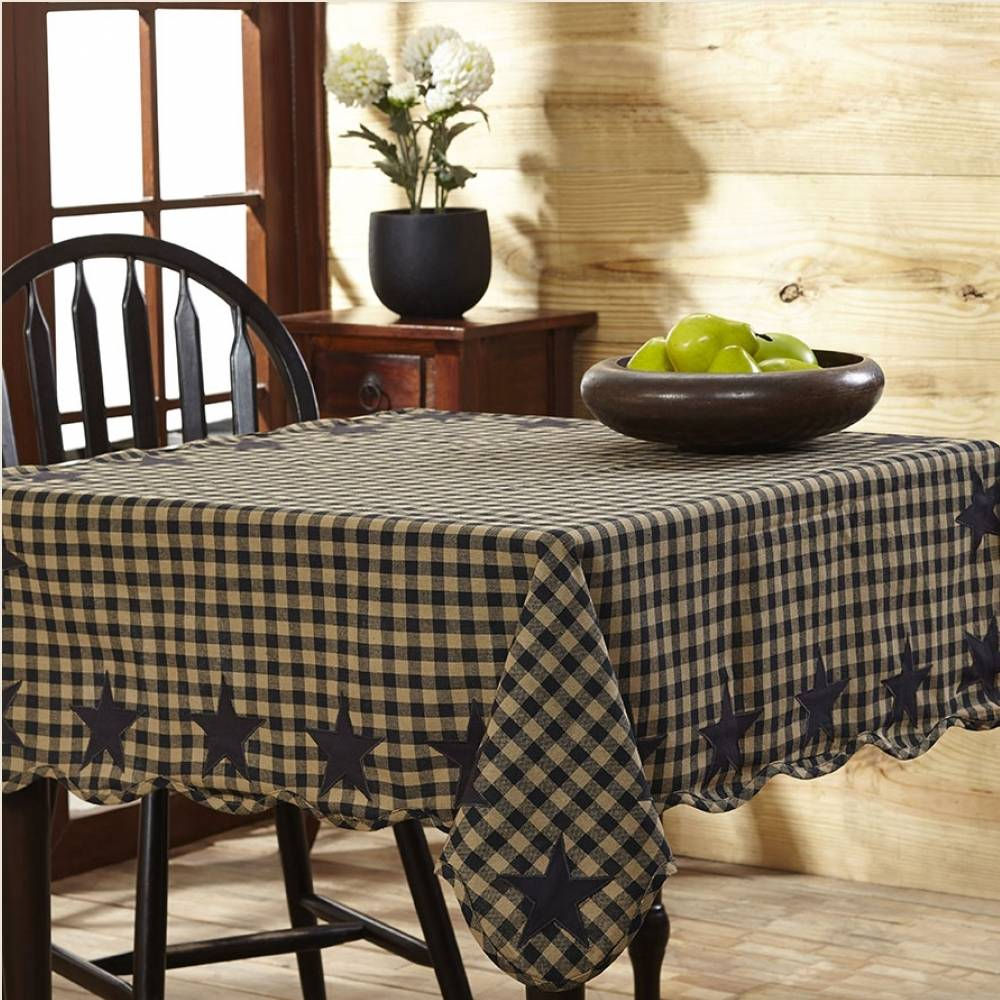 Black Check Star Scalloped Table Cloth X - Scalloped dining table