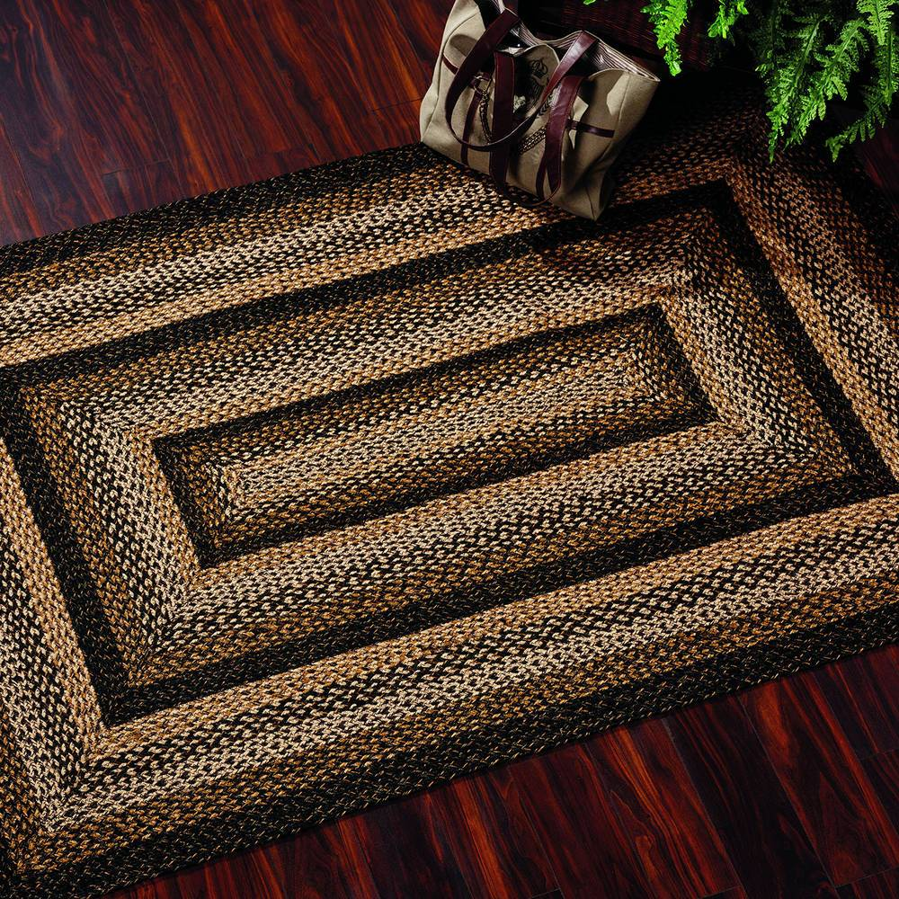 Black Forest Jute Area Rugs Country Style Braided Jute Rugs