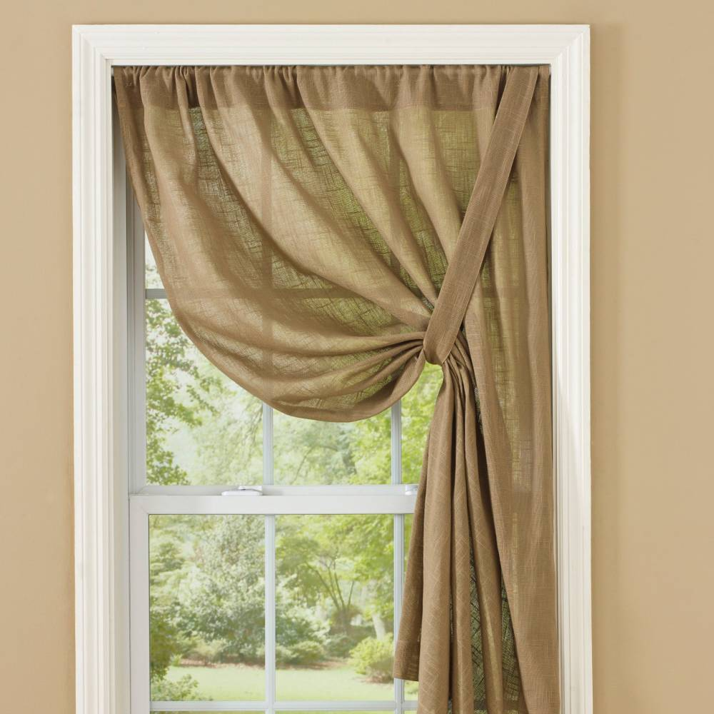 country curtains courtland taupe tie up panel 63. Black Bedroom Furniture Sets. Home Design Ideas
