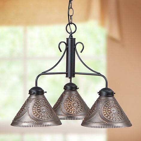 Wrought Iron & Tin Chandeliers