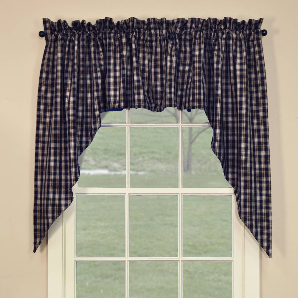 "country swag curtains | sturbridge navy blue swags 72"" x 36"""
