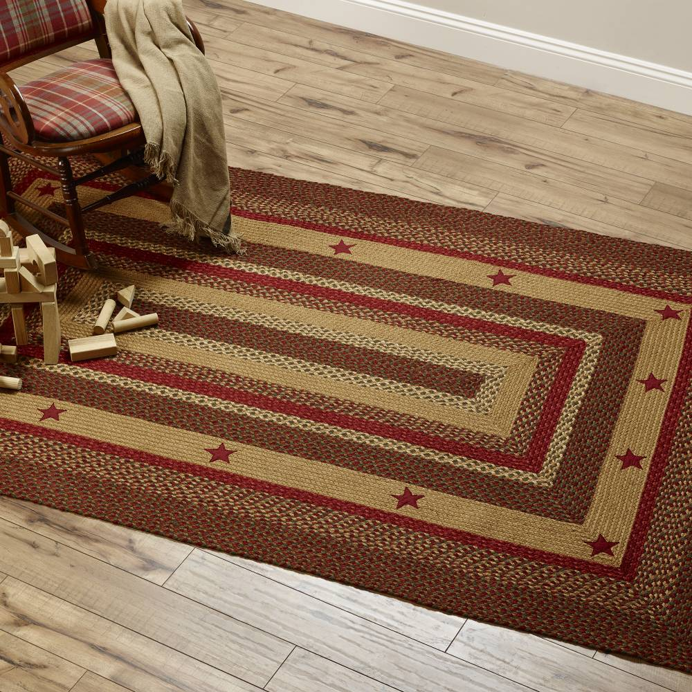 Country Style Braided Jute Rugs Star Black Appliqued