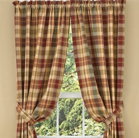 buffalo curtain kitchen window drapery dp check by com designs lined plaid home park pair drapes amazon panel