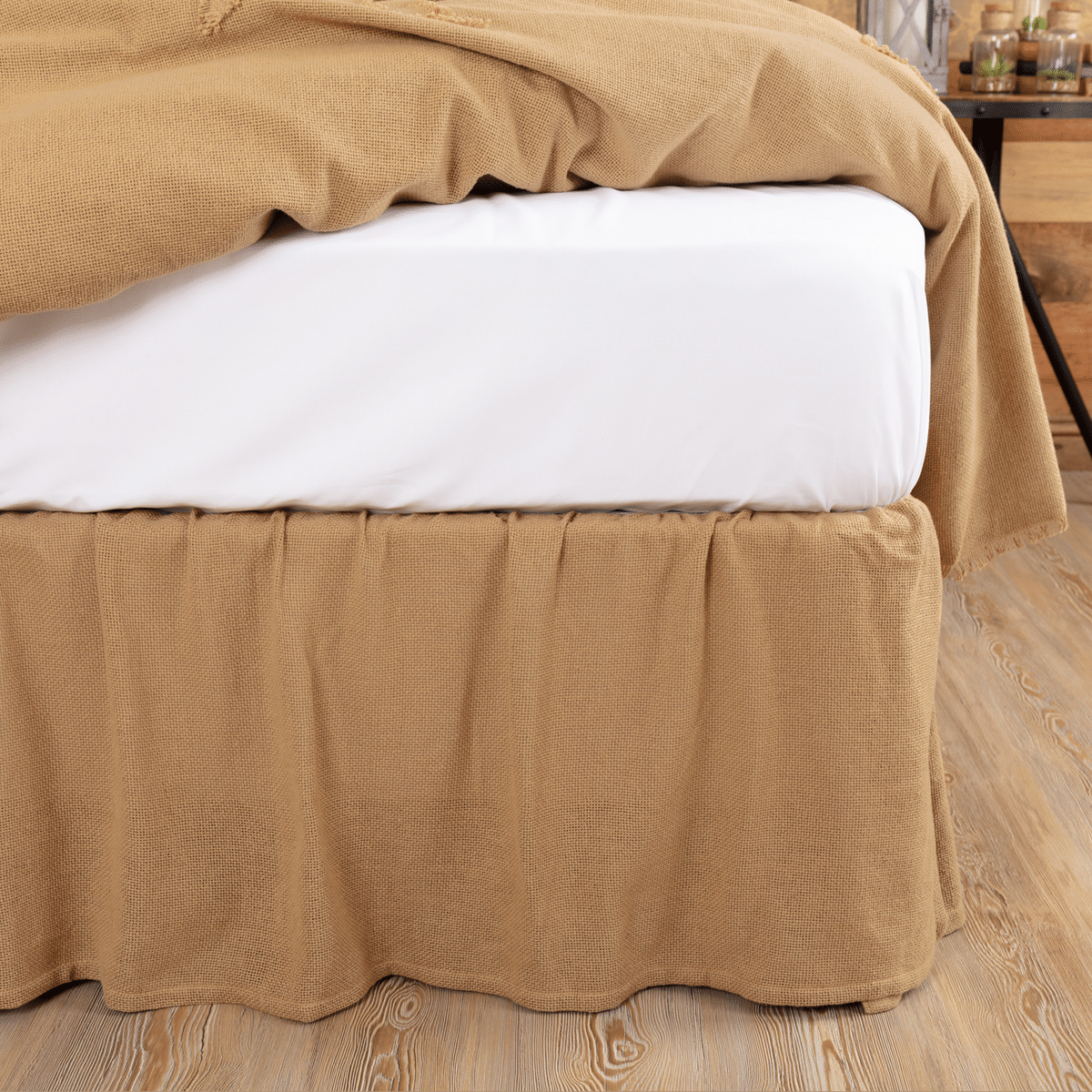 Country Bedding Burlap Fringed Bed Skirt Queen