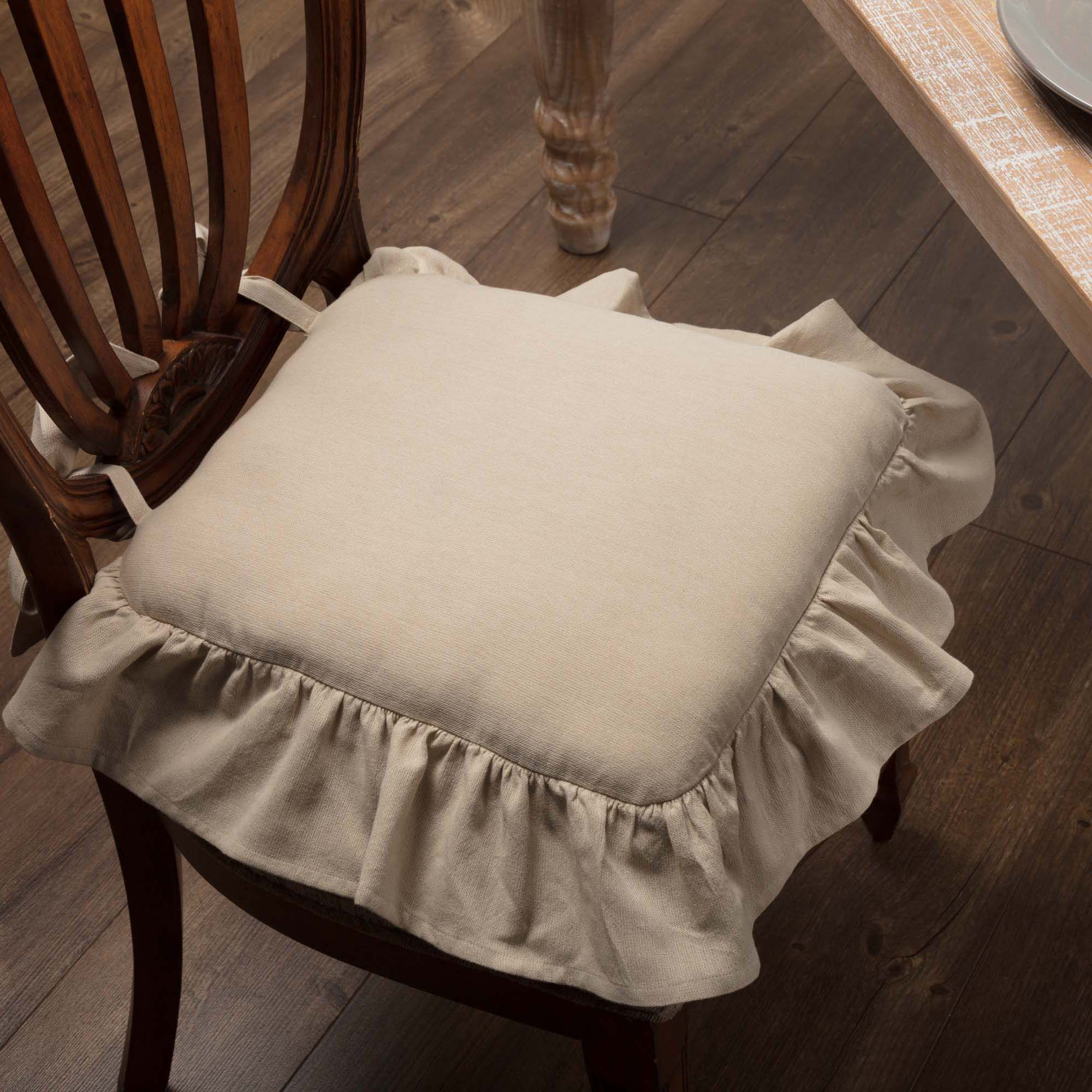 Ruffled Chambray Natural Chair Pad Piper Classics