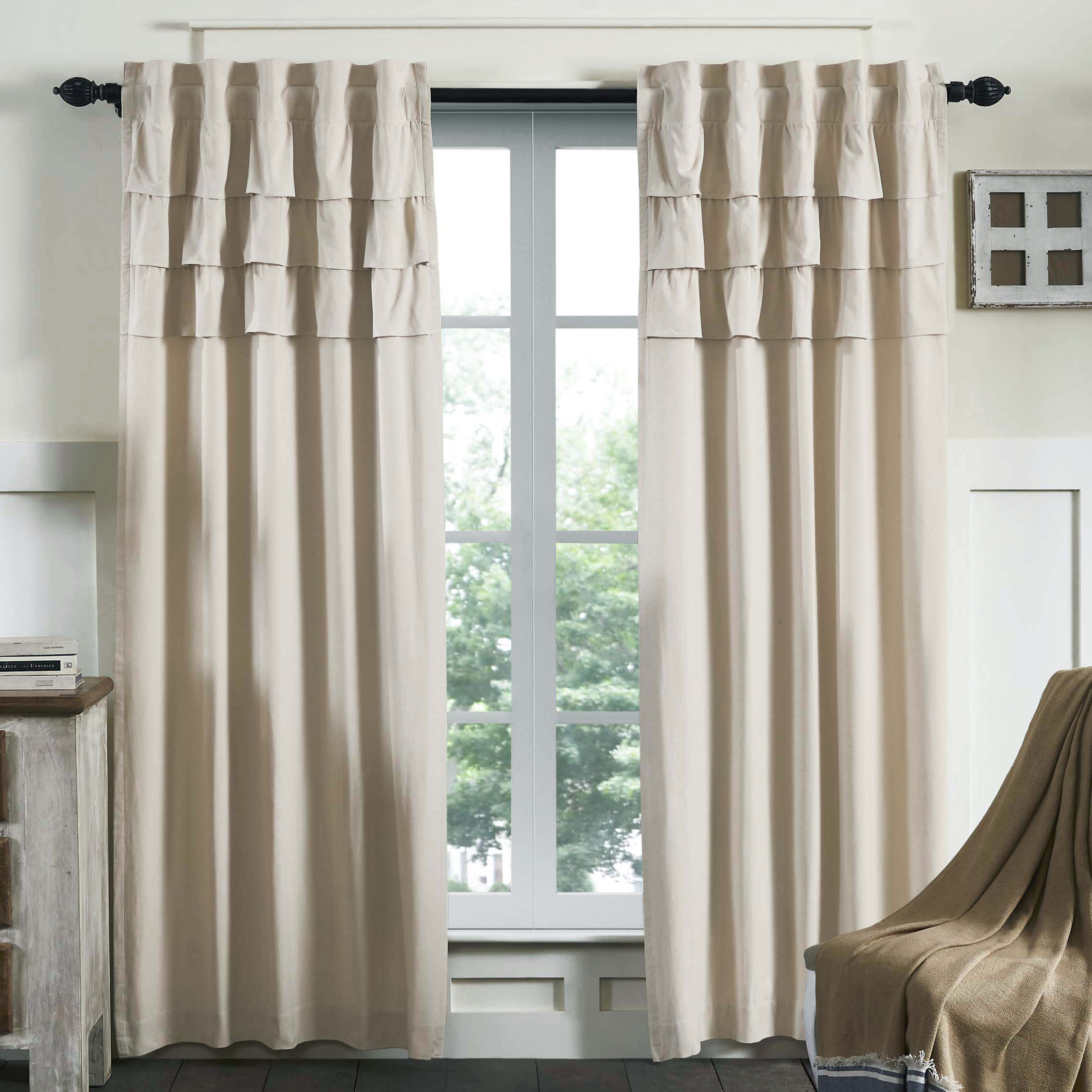 curtain grommet grey top stripes chambray set gray pin curtains striped of