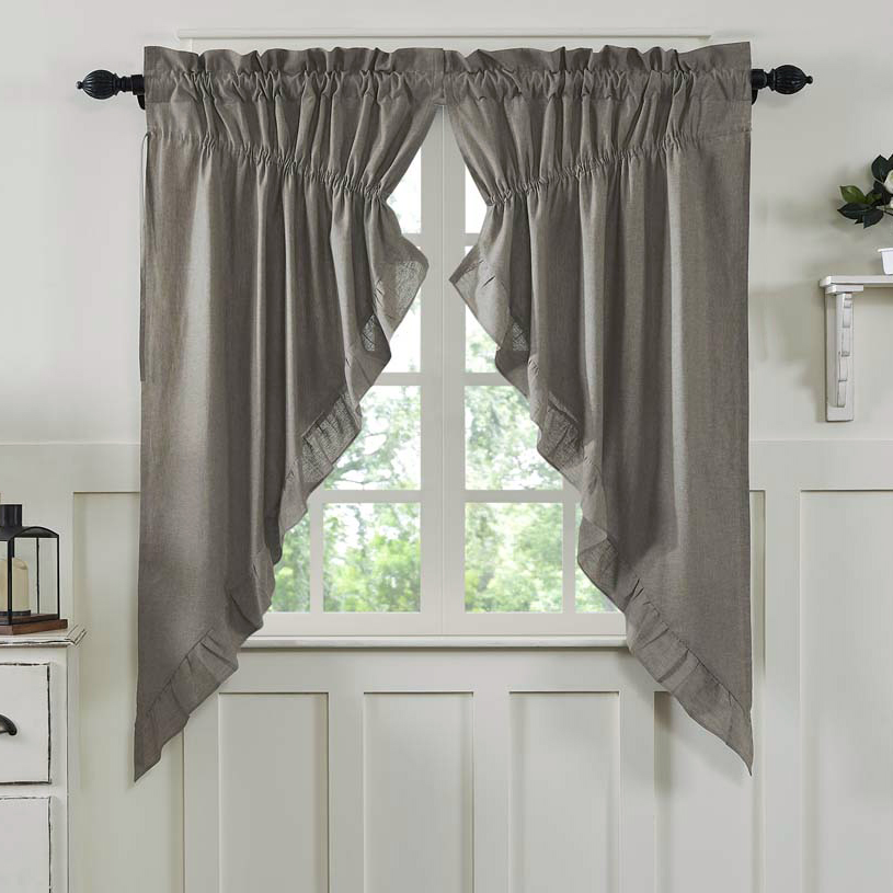 Ruffled Chambray Taupe-Grey Prairie Curtains
