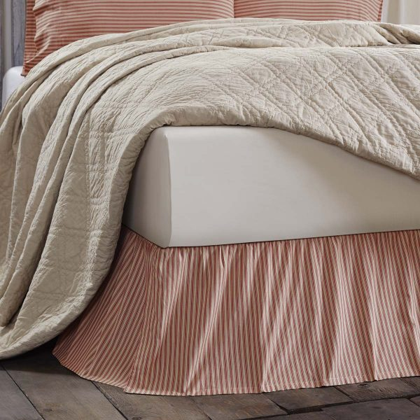 Kendra Red Stripe King Bed Skirt Country Farmhouse Bedding