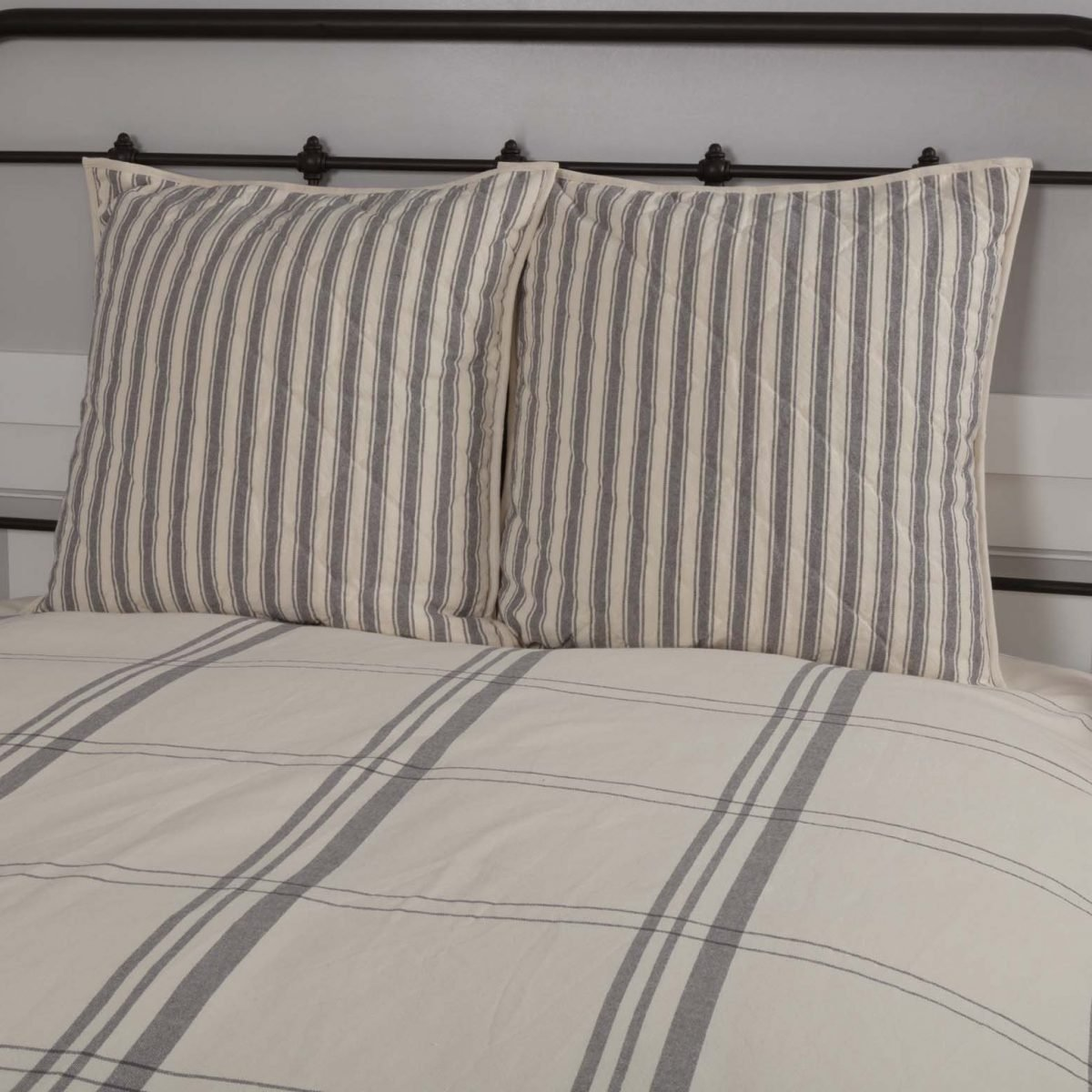 Market Place Gray Quilted Euro Sham Piper Classics