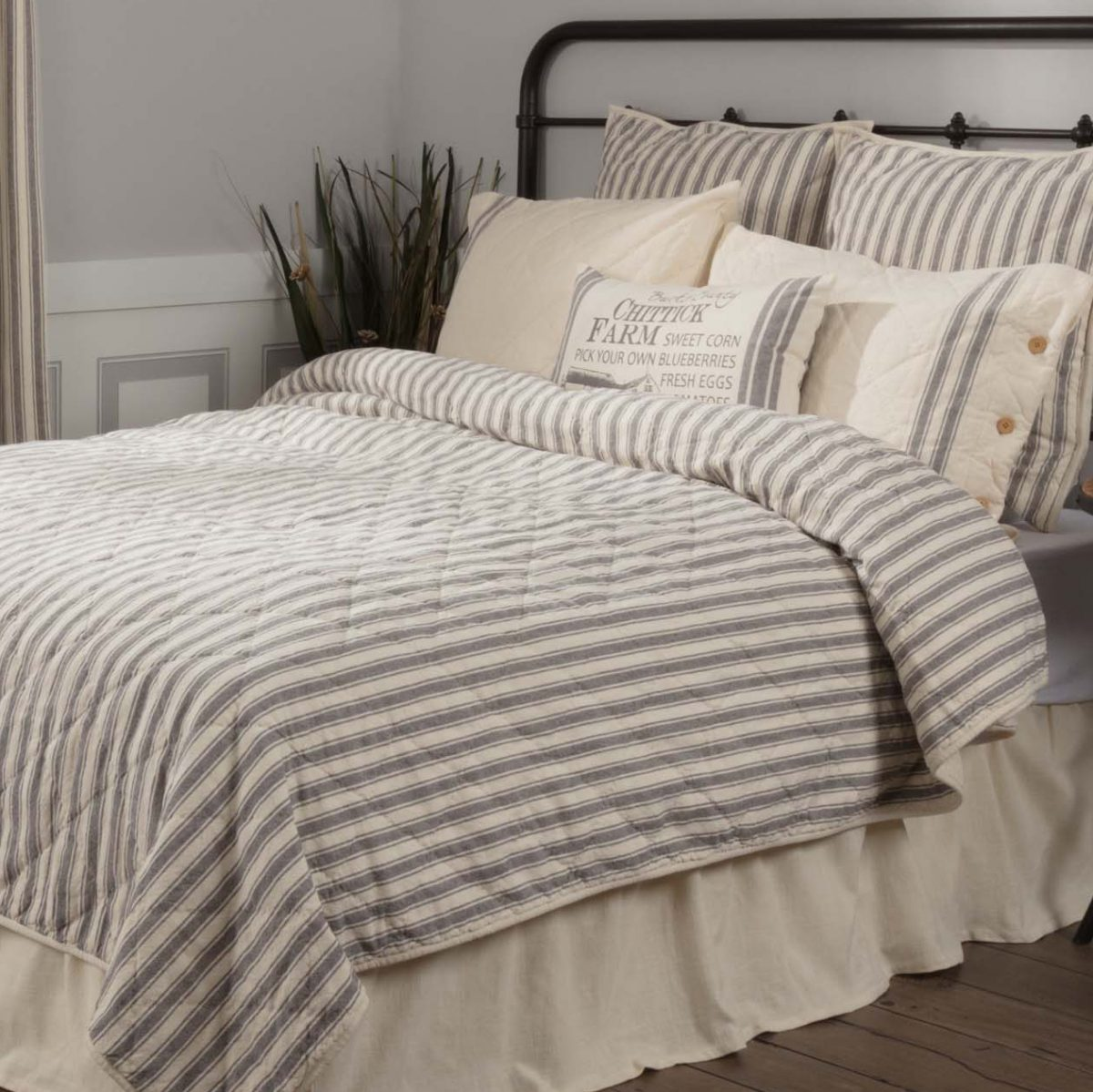 Market Place Gray Ticking Stripe Quilt Queen Piper