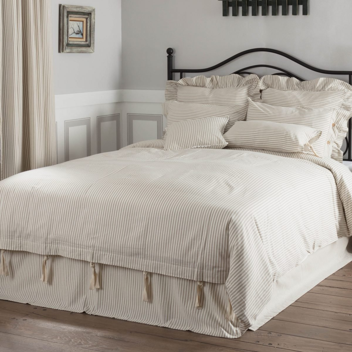 Farmhouse Ticking Taupe Duvet Cover King Piper Classics
