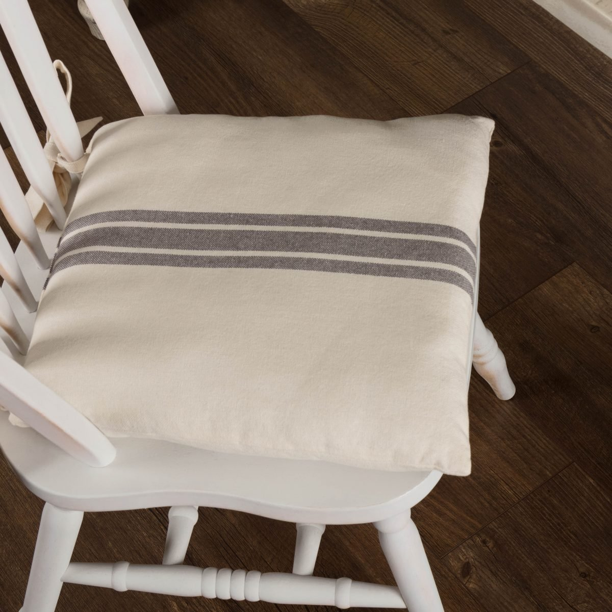 Market Place Gray Grain Sack Chair Pad