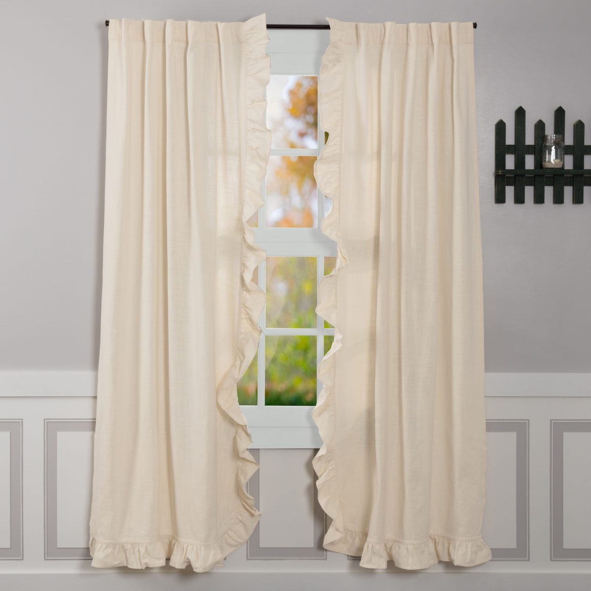 Cream Colored Farmhouse Style Curtains Ruffled Window Panels Drapes
