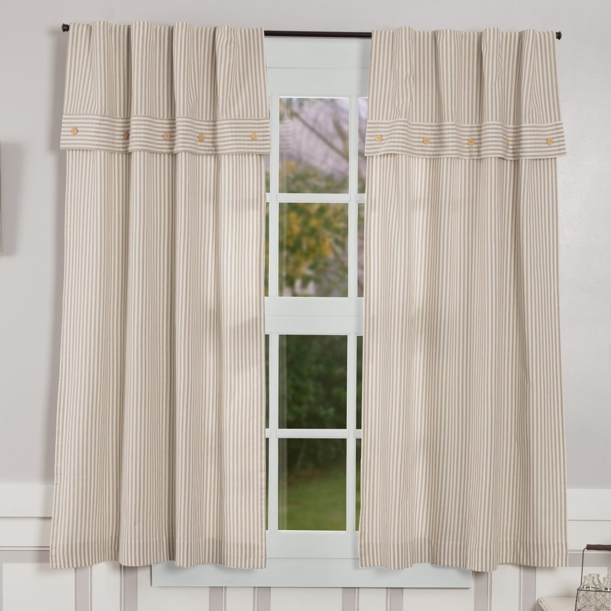 Farmhouse Ticking Taupe Lined Valance Panels 63 Quot Piper