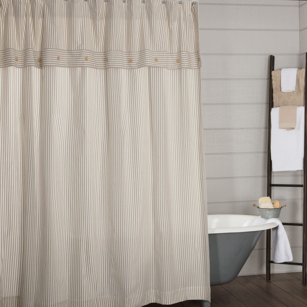 Farmhouse Ticking Taupe Shower Curtain Piper Classics