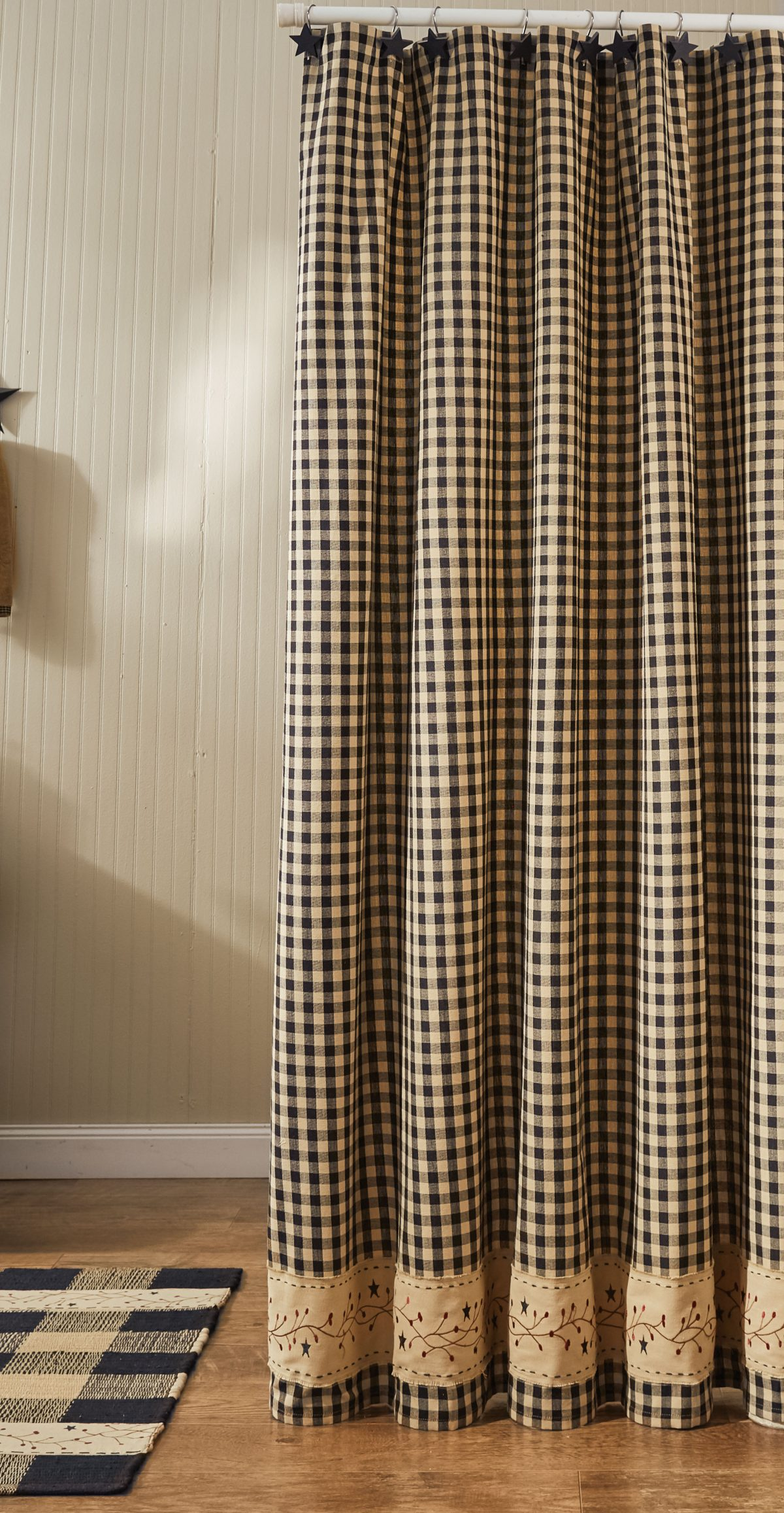 Gingham Berry Black Shower Curtain Piper Classics