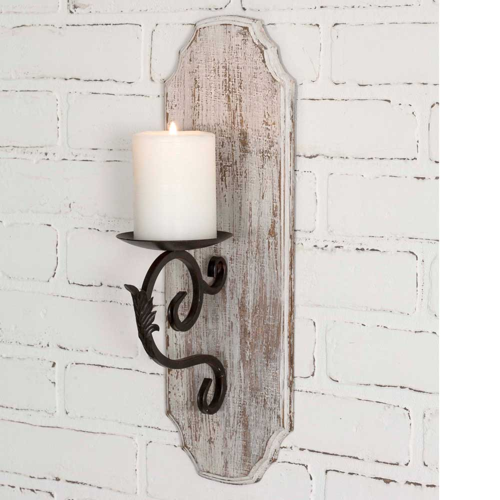 White Washed Candle Sconce Piper Classics