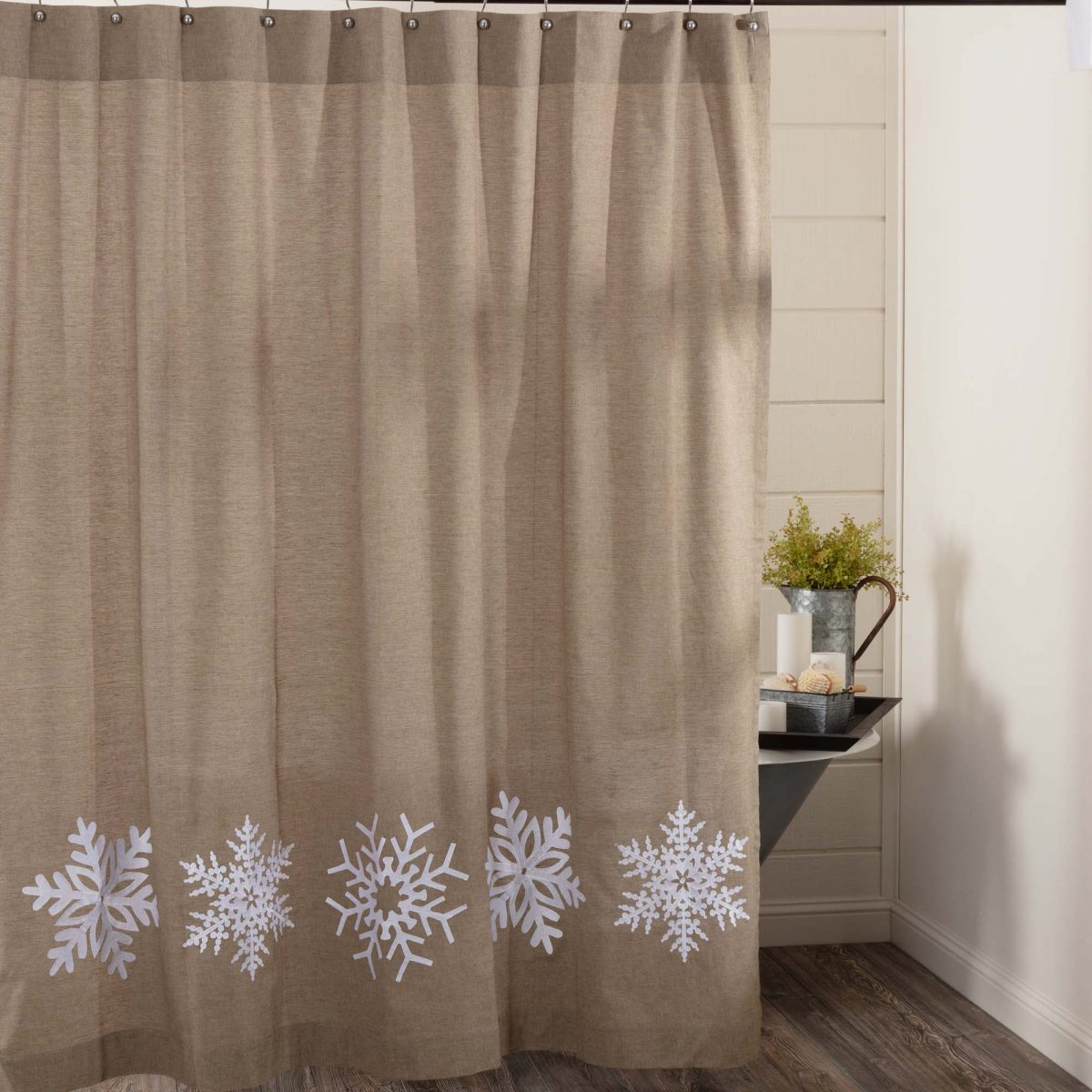 Snowflake Embroidered Shower Curtain