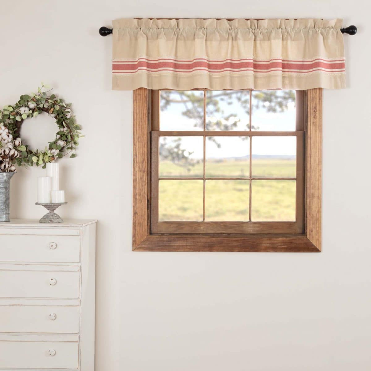 16 x 72 Piper Classics Mill Creek Red Patchwork Valance Country Farmhouse Curtain 16 x 72