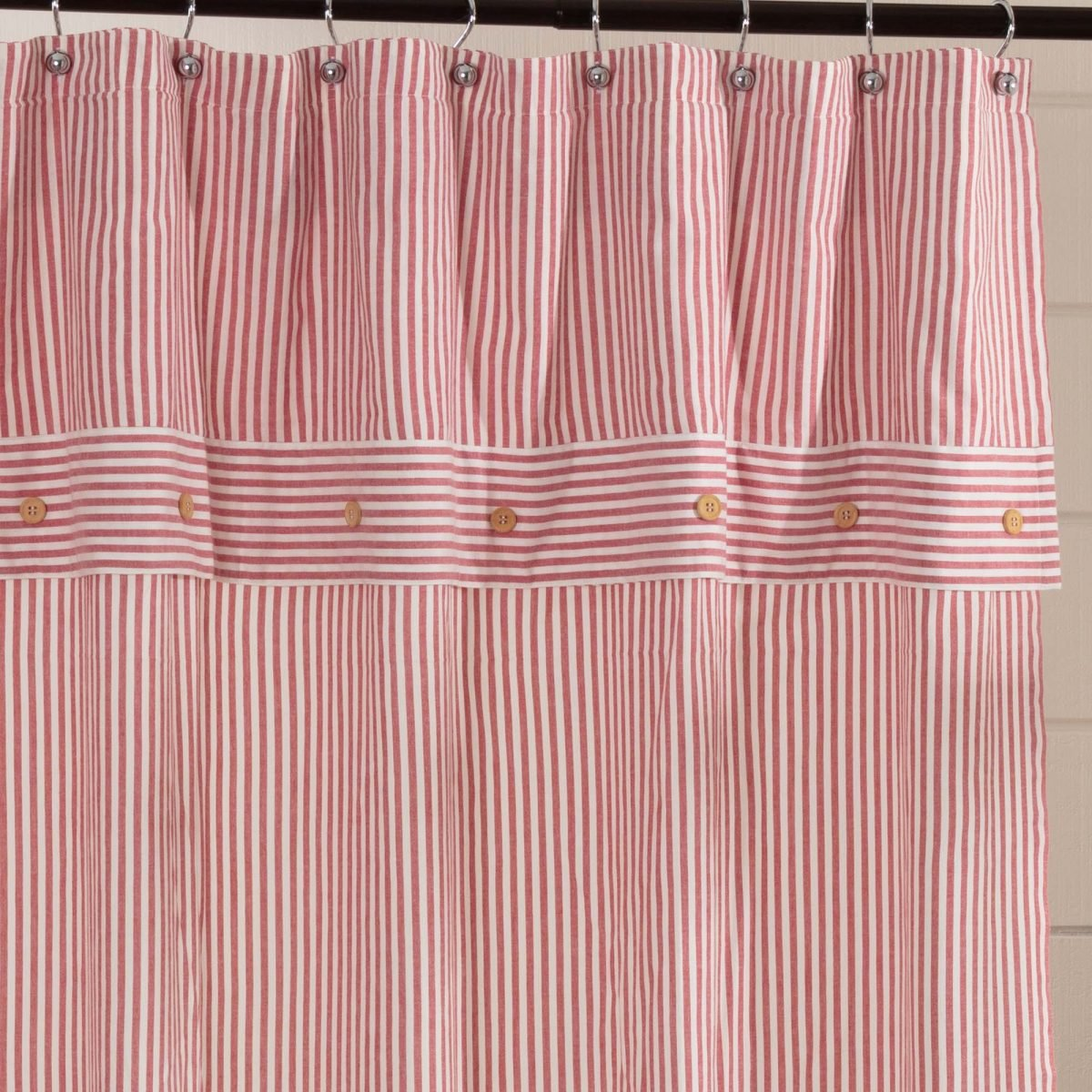 Farmhouse Ticking Red Shower Curtain Piper Classics