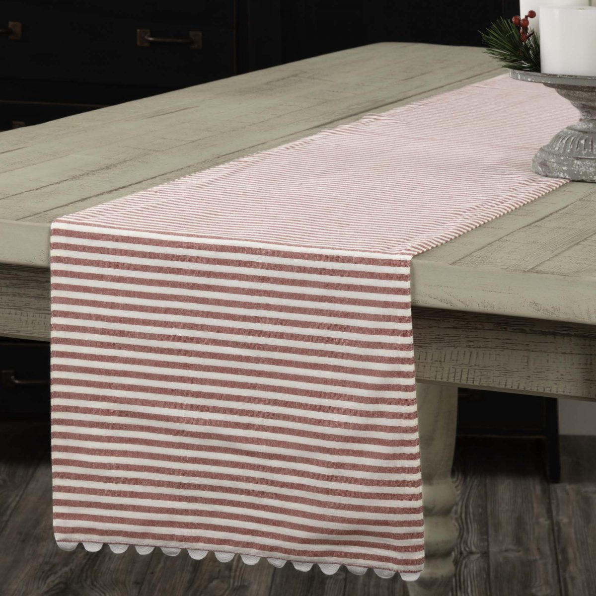 farmhouse ticking red table runner 36 piper classics. Black Bedroom Furniture Sets. Home Design Ideas