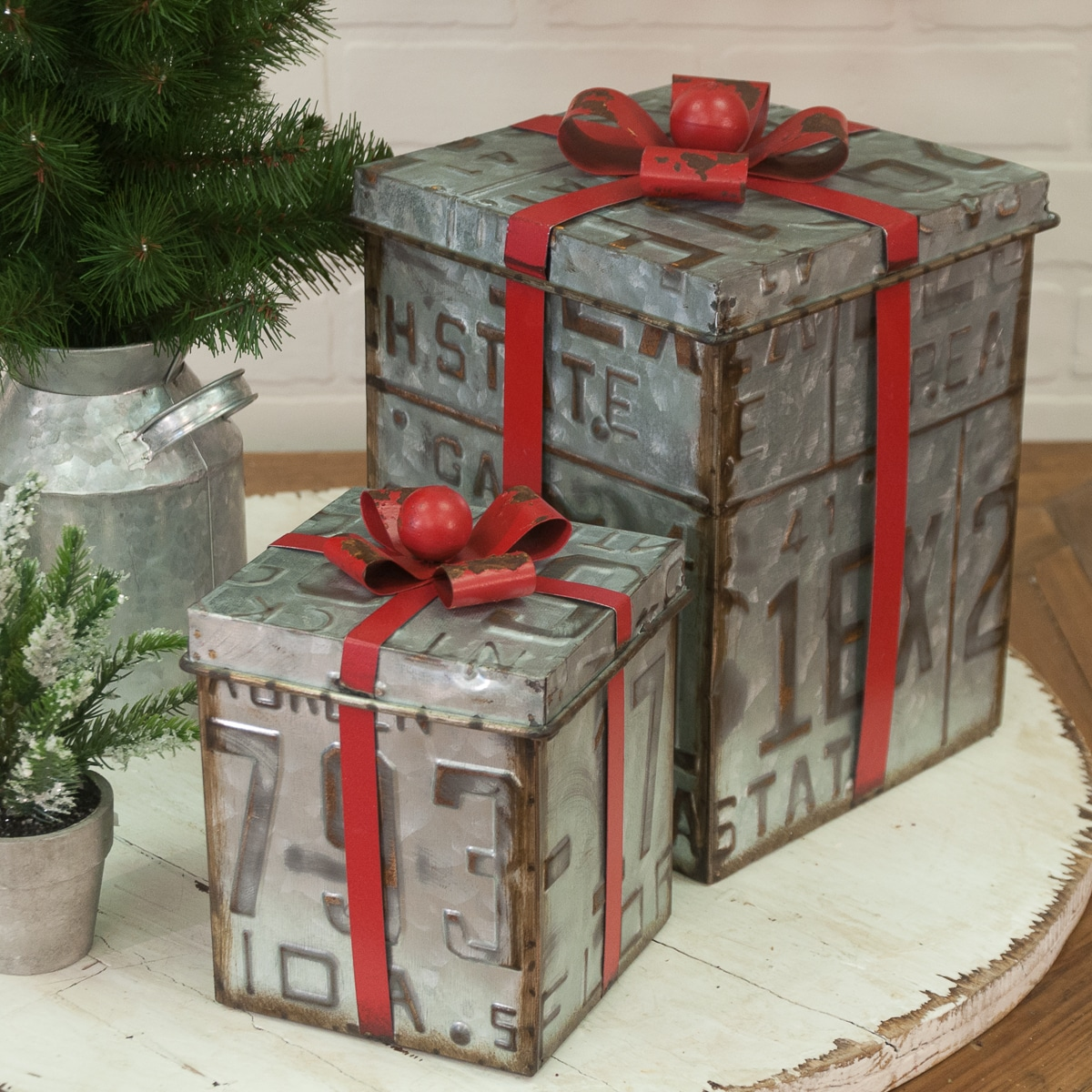 Aged Metal Gift Boxes