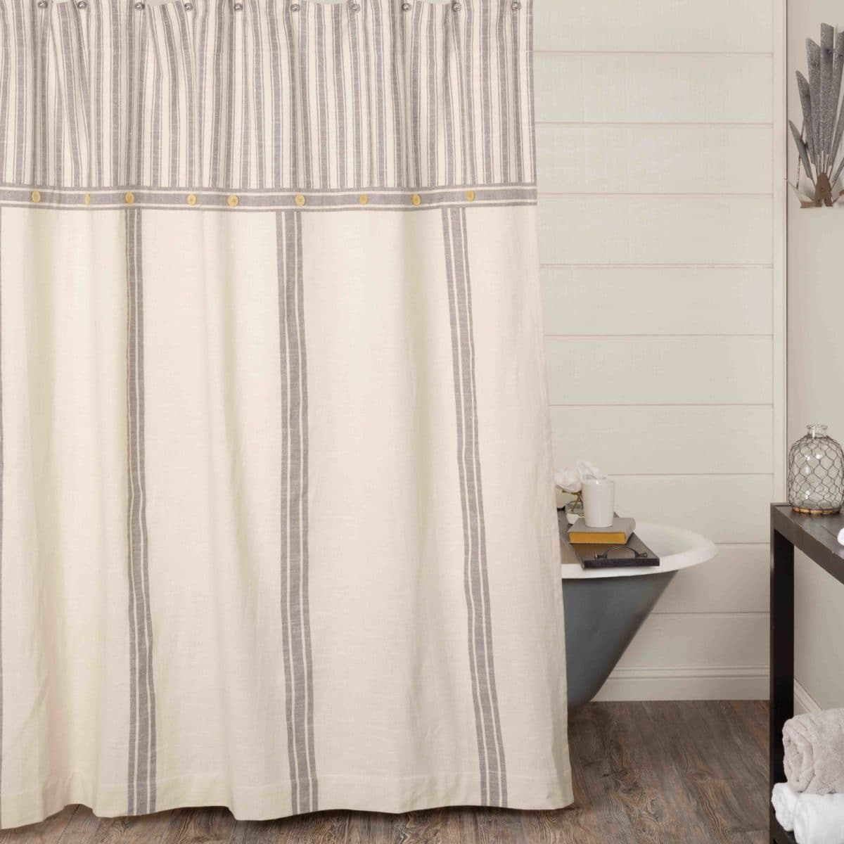 Market Place Gray Grain Sack Stripe Shower Curtain