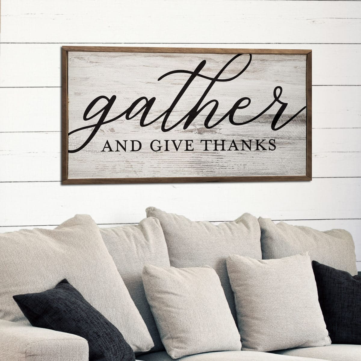 Distressed Gather Give Wooden Sign