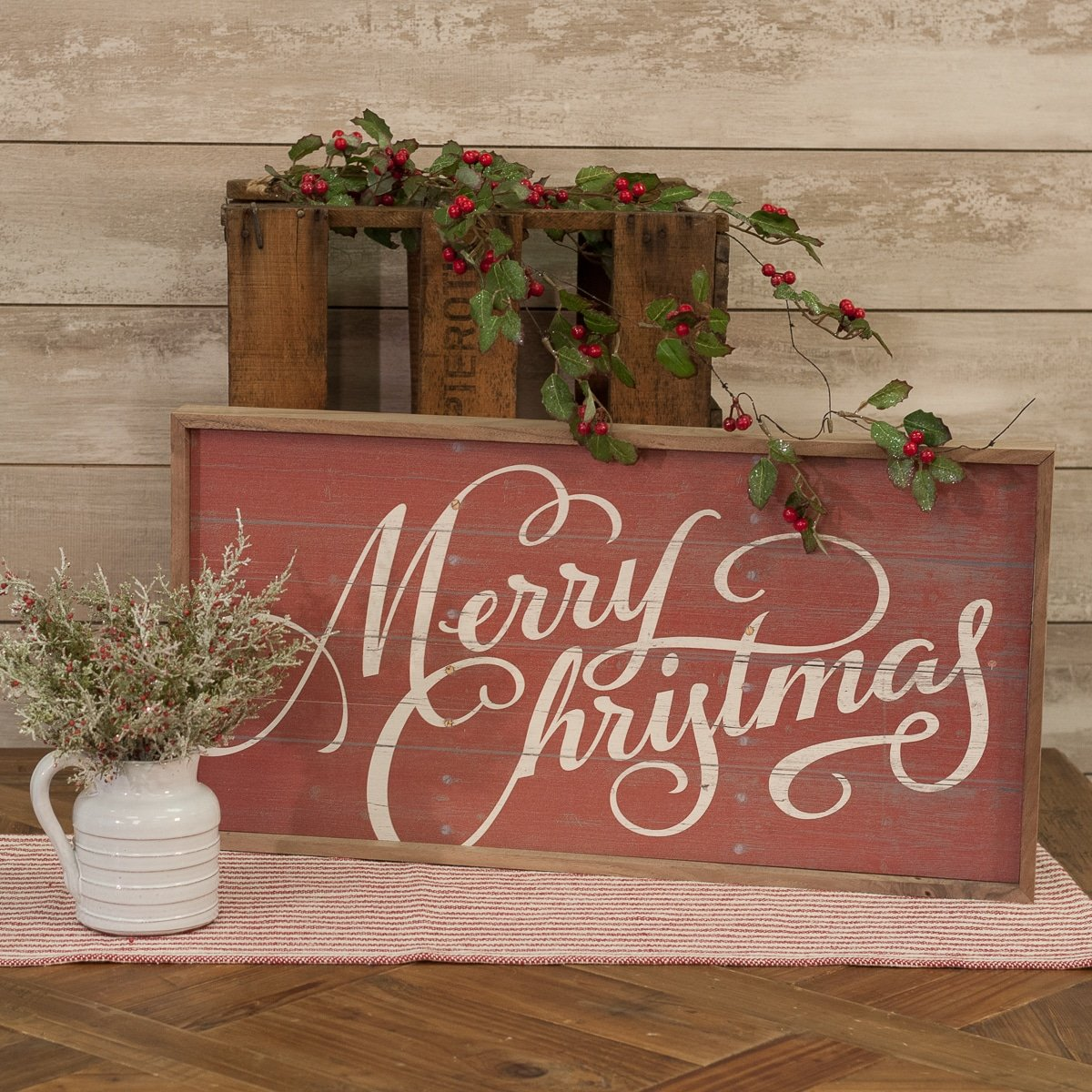 Merry Christmas Script Red Wooden Sign Piper Classics