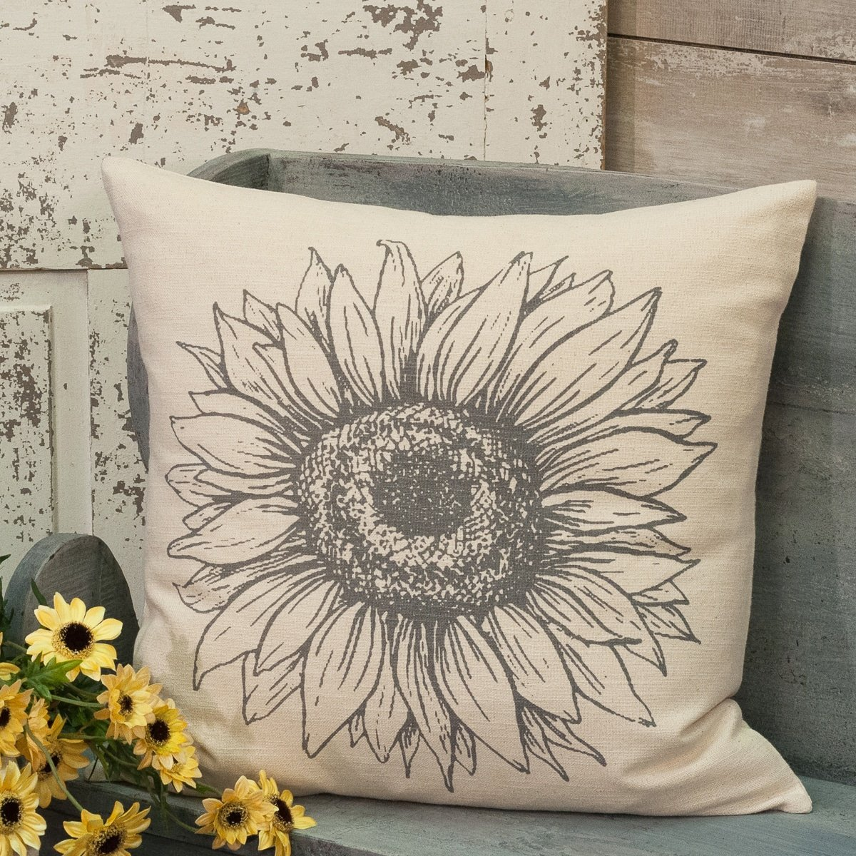 Sketched Sunflower 20 X 20 Pillow Cover Piper Classics