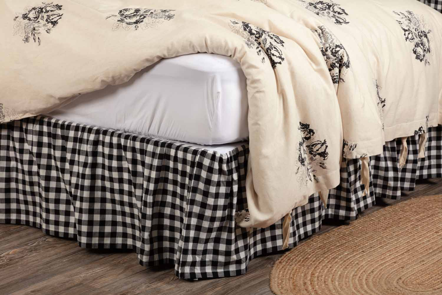 Vintage Check Black Bed Skirt Twin Piper Classics